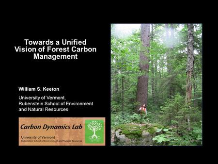 William S. Keeton University of Vermont, Rubenstein School of Environment and Natural Resources Towards a Unified Vision of Forest Carbon Management.