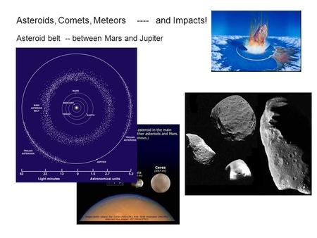 Asteroids, Comets, Meteors ---- and Impacts! Asteroid belt -- between Mars and Jupiter.