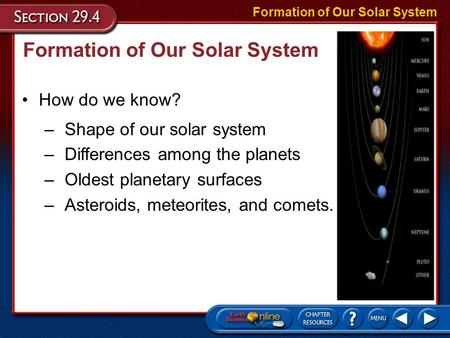Formation of Our Solar System