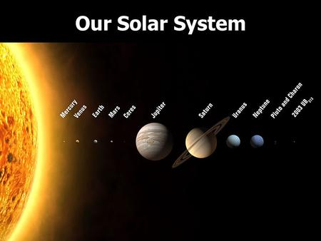 Our Solar System. The Sun It is a medium-sized yellow star in the middle of its life cycle. Its the center of our Solar System and holds objects in orbit.