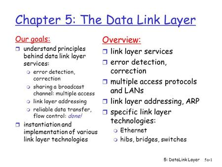 5: DataLink Layer5a-1 Chapter 5: The Data Link Layer Our goals: r understand principles behind data link layer services: m error detection, correction.