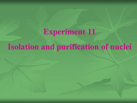Experiment 11 Isolation and purification of nuclei.