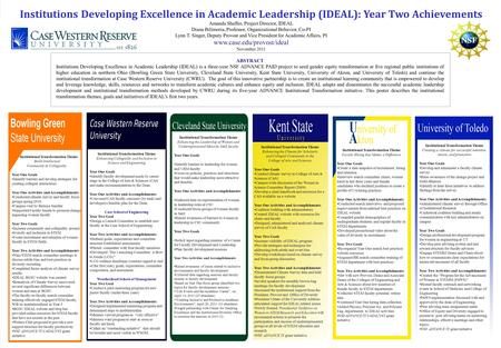Institutions Developing Excellence in Academic Leadership (IDEAL): Year Two Achievements Amanda Shaffer, Project Director, IDEAL Diana Bilimoria, Professor,