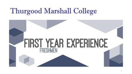 Thurgood Marshall College 1. Mechanics of this course: Show up twice each week: 1.Lecture: 1 time/week 2.Discussion section: 1 time/week Grading: 1.FYE.