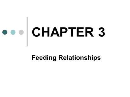 CHAPTER 3 Feeding Relationships. LEVELS OF ORGANIZATION REVIEW SPECIES POPULATIONS COMMUNITIES ECOSYSTEMS BIOME BIOSPHERE.