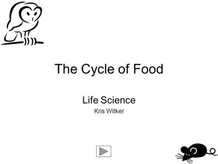 The Cycle of Food Life Science Kris Witker When you see the following buttons, click on them to navigate through this guide: Click on the arrow to continue.
