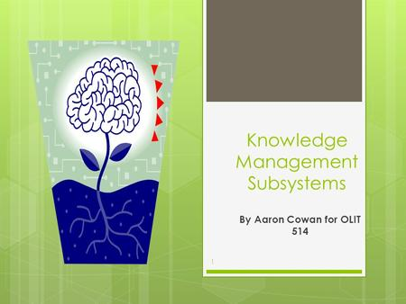 Knowledge Management Subsystems By Aaron Cowan for OLIT 514 1.