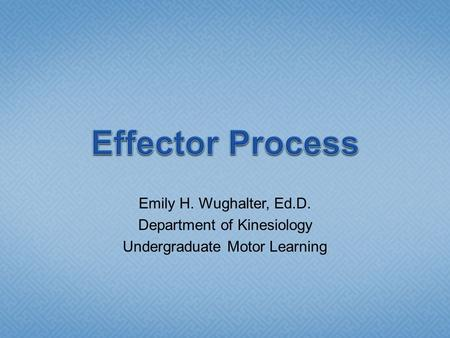 Emily H. Wughalter, Ed.D. Department of Kinesiology Undergraduate Motor Learning.