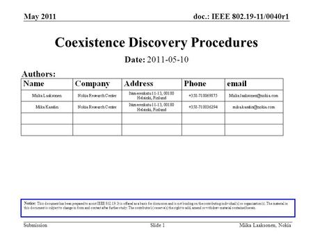 Doc.: IEEE 802.19-11/0040r1 Submission May 2011 Miika Laaksonen, NokiaSlide 1 Coexistence Discovery Procedures Notice: This document has been prepared.