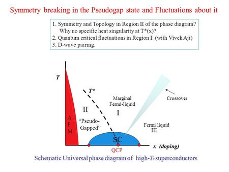 Symmetry breaking in the Pseudogap state and Fluctuations about it Schematic Universal phase diagram of high-T c superconductors MarginalFermi-liquid Fermi.