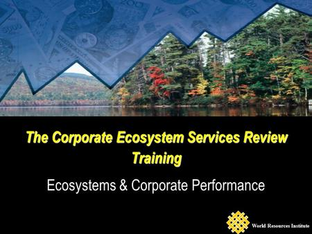 The Corporate Ecosystem Services Review Training Ecosystems & Corporate Performance World Resources Institute.