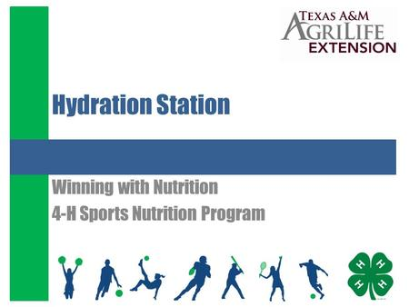 Hydration Station Winning with Nutrition 4-H Sports Nutrition Program.