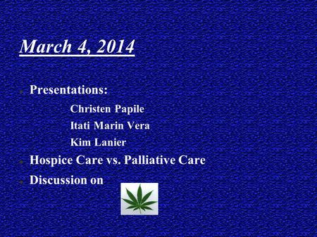 March 4, 2014 Presentations:  Christen Papile  Itati Marin Vera  Kim Lanier Hospice Care vs. Palliative Care Discussion on.