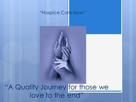"""A Quality Journey for those we love to the end"" ""Hospice Care Now"""