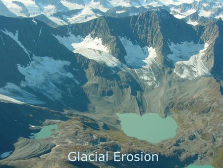 Glacial Erosion. Definition of a Glacier  A glacier is a large mass of ice that moves slowly over land (a river of ice).