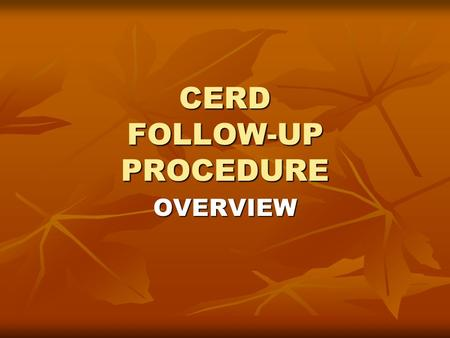 CERD FOLLOW-UP PROCEDURE OVERVIEW Rule 65 of rules of procedure The Committee may: The Committee may: − request an additional report or further information.