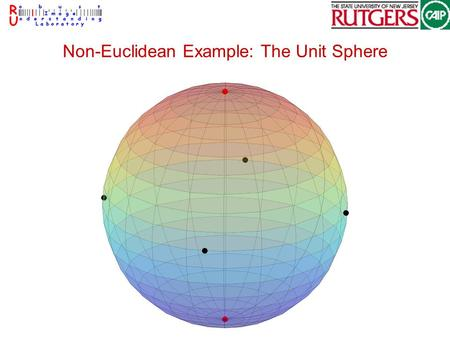Non-Euclidean Example: The Unit Sphere. Differential Geometry Formal mathematical theory Work with small 'patches' –the 'patches' look Euclidean Do calculus.