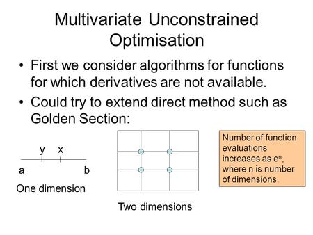 Multivariate Unconstrained Optimisation First we consider algorithms for functions for which derivatives are not available. Could try to extend direct.