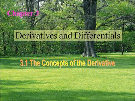 Chapter 3. 导数 Derivative 导数 可导的 Derivable 可导的 可导性 Derivability 可导性 单侧导数 One-sided derivative 单侧导数 左导数 Left-hand derivative 左导数 右导数 Right-hand derivative.