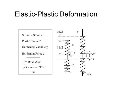 Elastic-Plastic Deformation. Simple Constitutive Relations.