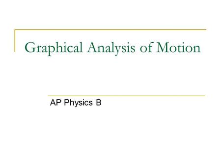 Graphical Analysis of Motion AP Physics B. Slope – A basic graph model A basic model for understanding graphs in physics is SLOPE. Using the model - Look.