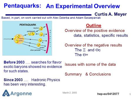 Argonne March 2, 2005 1 Curtis A. Meyer Pentaquarks: An Experimental Overview Based, in part, on work carried out with Alex Dzierba and Adam Szczepaniak.
