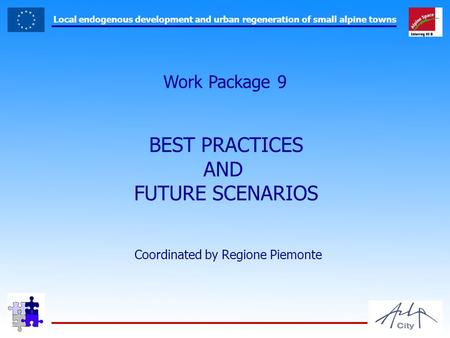 Local endogenous development and urban regeneration of small alpine towns Work Package 9 BEST PRACTICES AND FUTURE SCENARIOS Coordinated by Regione Piemonte.