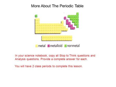 More About The Periodic Table In your science notebook, copy all Stop to Think questions and Analysis questions. Provide a complete answer for each. You.