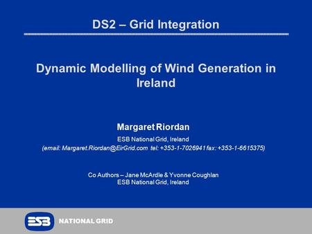 DS2 – Grid Integration Dynamic Modelling of Wind Generation in Ireland