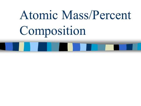 Atomic Mass/Percent Composition. Average of Isotopes Every element typically exists in several isotope forms Isotopes are atoms of the same element with.