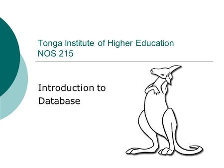 Introduction to Database Tonga Institute of Higher Education NOS 215.