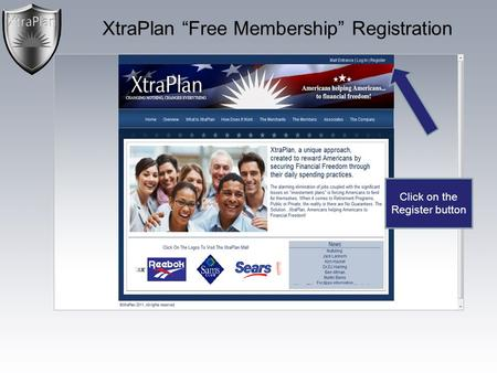 "XtraPlan ""Free Membership"" Registration Click on the Register button."