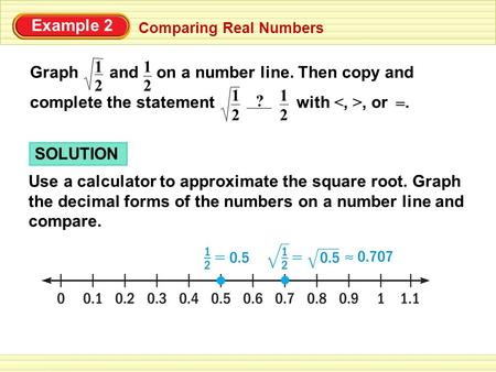Graph and on a number line. Then copy and complete the statement with, or. 2 1 2 Example 2 Comparing Real Numbers 1 ? = 2 1 2 1 SOLUTION Use a calculator.
