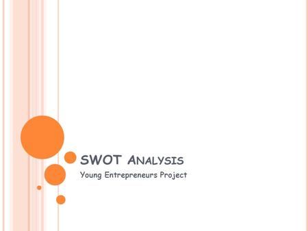 SWOT A NALYSIS Young Entrepreneurs Project. 1. 2. 3. 1. 2. 3. 1. 2. 3. 1. 2. 3. StrengthsWeaknesses OpportunitiesThreats Inside Your Company Outside YourCompany.