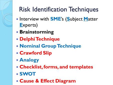 Risk Identification Techniques Interview with SME's (Subject Matter Experts) Brainstorming Delphi Technique Nominal Group Technique Crawford Slip Analogy.