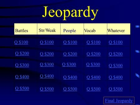 Jeopardy Battles Str/Weak Vocab Whatever Q $100 Q $200 Q $300 Q $400 Q $500 Q $100 Q $200 Q $300 Q $400 Q $500 Final Jeopardy People.