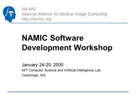 NA-MIC National Alliance for Medical Image Computing  NAMIC Software Development Workshop January 24-25, 2005 MIT Computer Science and.