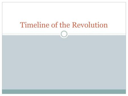 Timeline of the Revolution. 1760 King George III ascends to the throne of England.