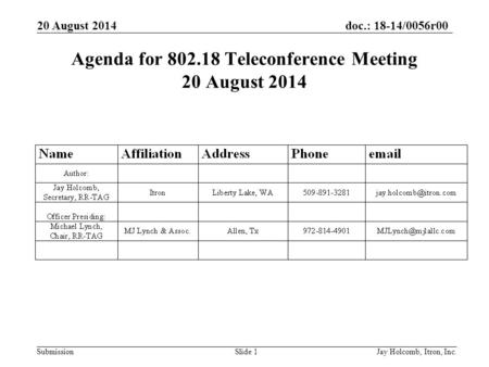 Doc.: 18-14/0056r00 Submission 20 August 2014 Jay Holcomb, Itron, Inc. Slide 1 Agenda for 802.18 Teleconference Meeting 20 August 2014.