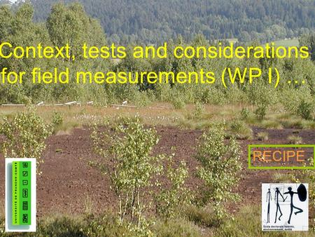 Context, tests and considerations for field measurements (WP I) … RECIPE.