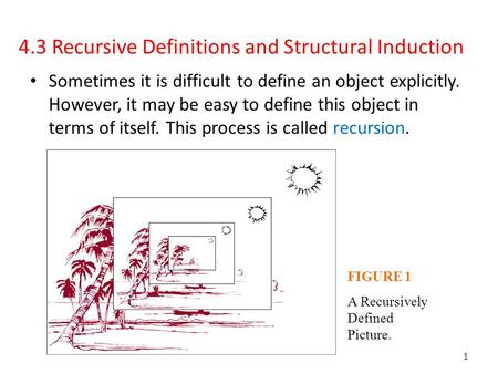 4.3 Recursive Definitions and Structural Induction Sometimes it is difficult to define an object explicitly. However, it may be easy to define this object.