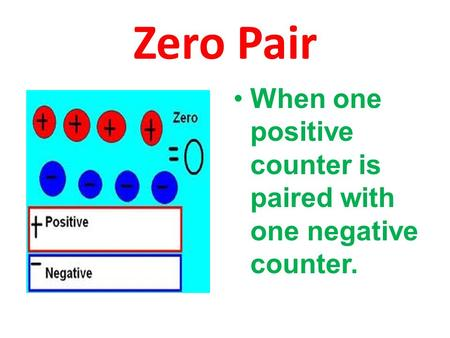 Zero Pair When one positive counter is paired with one negative counter.