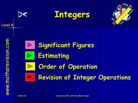 Level 4 11-Nov-15Created by Mr. Lafferty Maths Dept. Significant Figures Estimating Integers www.mathsrevision.com Order of Operation Revision of Integer.