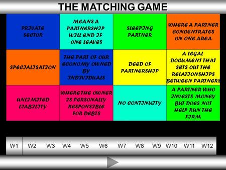 10 THE MATCHING GAME THE MATCHING GAME W1W2W3W4W5W6W7W8W9W10W11W12 DEED OF PARTNERSHIP WHERE THE OWNER IS PERSONALLY RESPONSIBLE FOR DEBTS NO CONTINUITY.