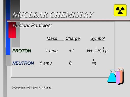 NUCLEAR CHEMISTRY Nuclear Particles: Mass ChargeSymbol Mass ChargeSymbol PROTON 1 amu +1 H+, H, p NEUTRON 1 amu 0 n © Copyright 1994-2001 R.J. Rusay.