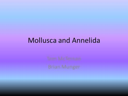Mollusca and Annelida Tom McTernan Brian Munger. Mollusca General Info 150,000 known species Most mollusks are marine, but some live in fresh water environments.