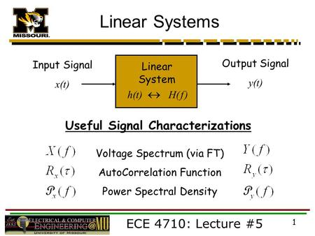 ECE 4710: Lecture #5 1 Linear Systems Linear System Input Signal x(t) Output Signal y(t) h(t)  H( f ) Voltage Spectrum (via FT) AutoCorrelation Function.