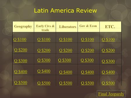 Latin America Review Geography Early Civs & trade Liberators Gov & Econ ETC. Q $100 Q $200 Q $300 Q $400 Q $500 Q $100 Q $200 Q $300 Q $400 Q $500 Final.
