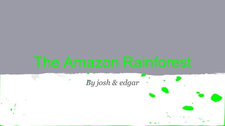 The Amazon Rainforest By josh & edgar. - the Amazon is in our planet earth. -in the continent of South America. - most of the rainforest is in Brasil.