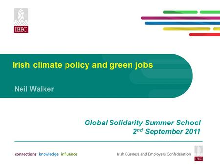 Irish climate policy and green jobs Neil Walker Global Solidarity Summer School 2 nd September 2011.